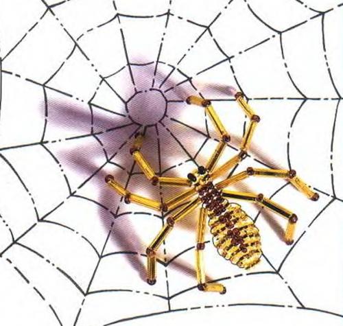 Плетение паука из бисера