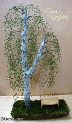 Как сделать березу из зеленого бисера, проволоки и гипса.  Мастер-класс изготовления Birch Bead своими руками.