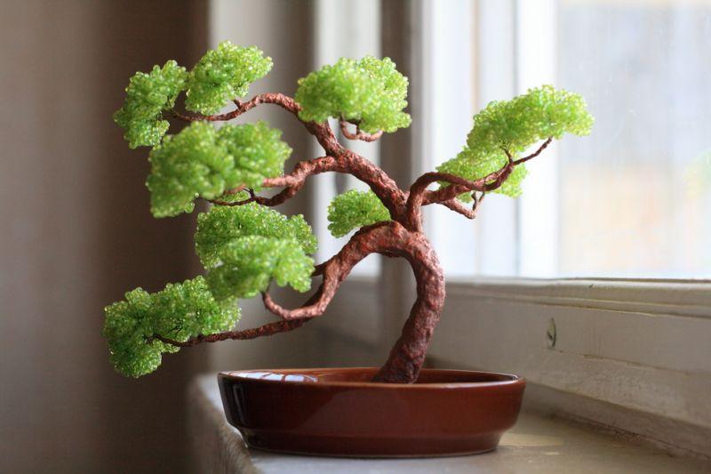 дерево банзай из бисера.