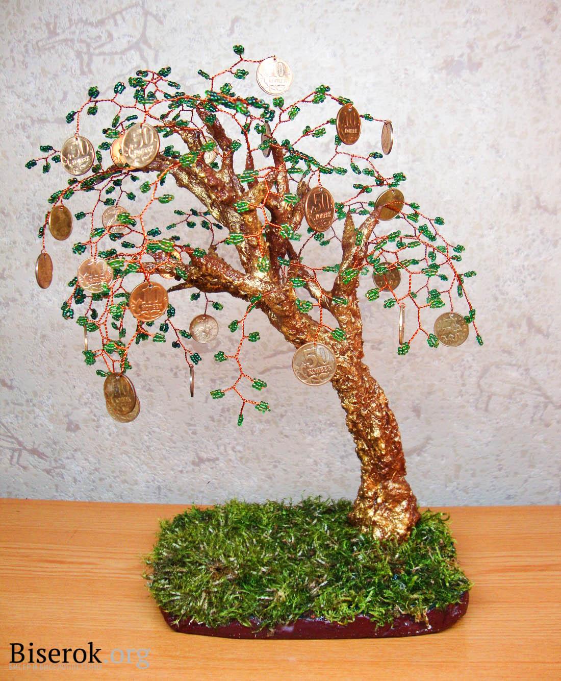 denezhnoe-derevo-5 Денежное дерево Деревья из бисера, бонсай – Бисерок