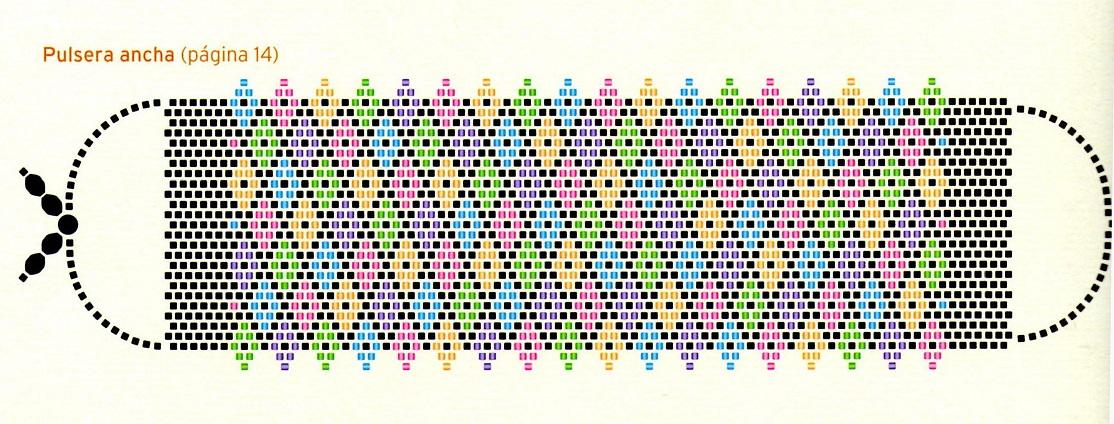 Обычно плетение мозаикой начинается из центра изделия, так и эти ремешки из бисера.  На одной из схем стрелочкой...