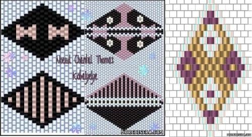 Графические схемы. схема плетения бантов из бисера.