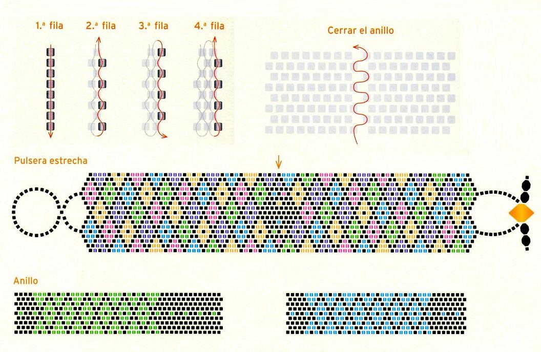 Подробная схема плетения.  Как сплести ремешки из бисера.