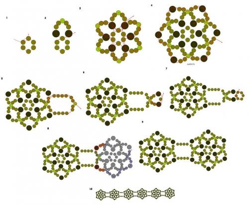 На схеме рис. 6-7 показан удобный и простой способ соединения круглых цветов, вы как бы приплетаете цветок в хитрой...