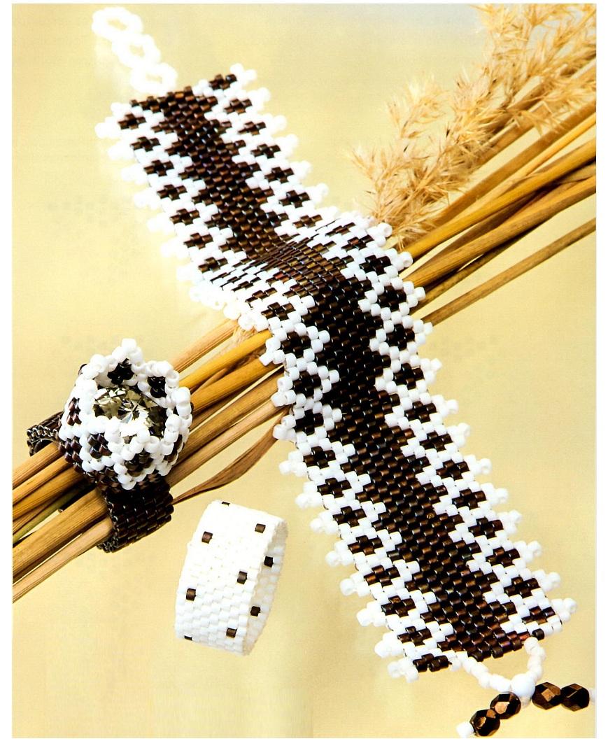 Плетение из черного и белого бисера