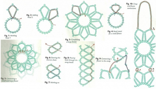 Плетение колье из зеленого бисера