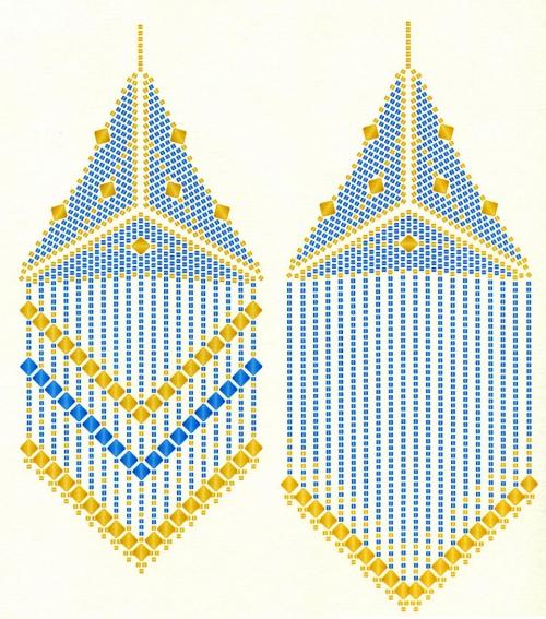 И заключительное изображение плетения треугольного кулона.  Красивые украшения из бисера с множеством подвесок.