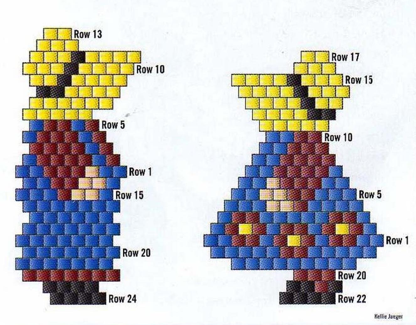 Первый ряд отмечен на схеме, для мальчика он расположен в центре фигурки, ряд за рядом вы поднимаетесь в верх.