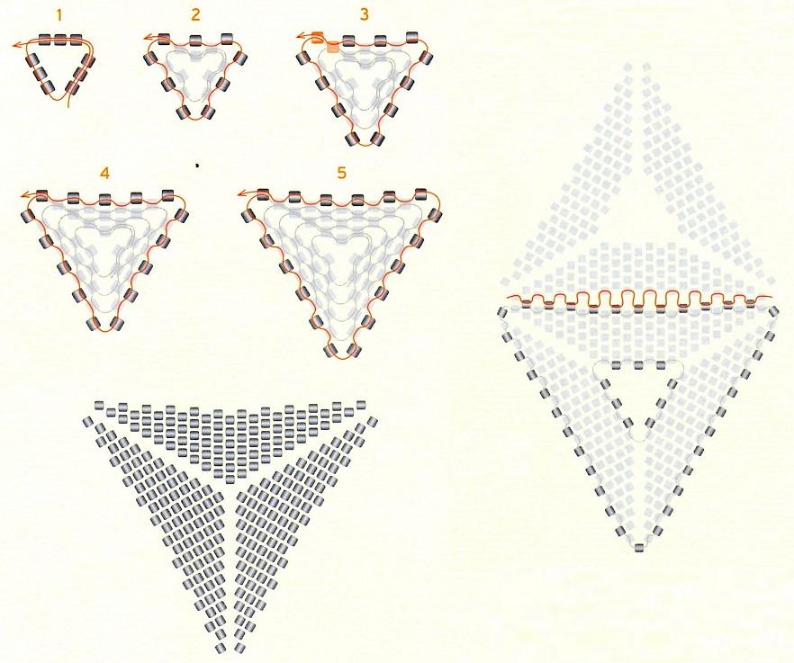 Треугольник из бисера схема поэтапно