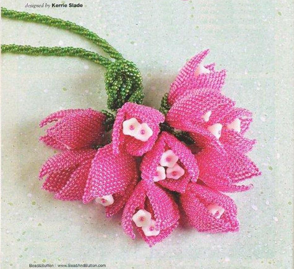 Шнур с... Зеленый шнур с розовыми тюльпанами из бисера.