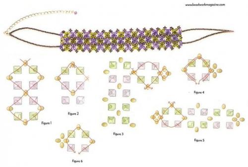 Схема плетения стойки из бусин