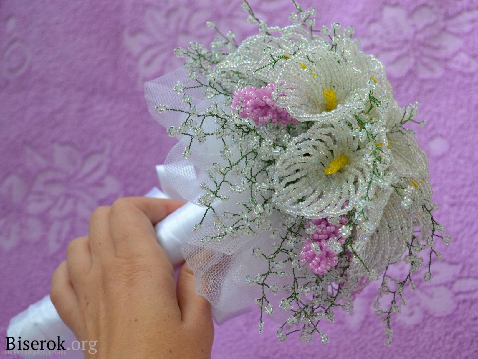 Мастер-класс плетения свадебного букета из бисера. http://biserok.org/svadebnyiy-buket.