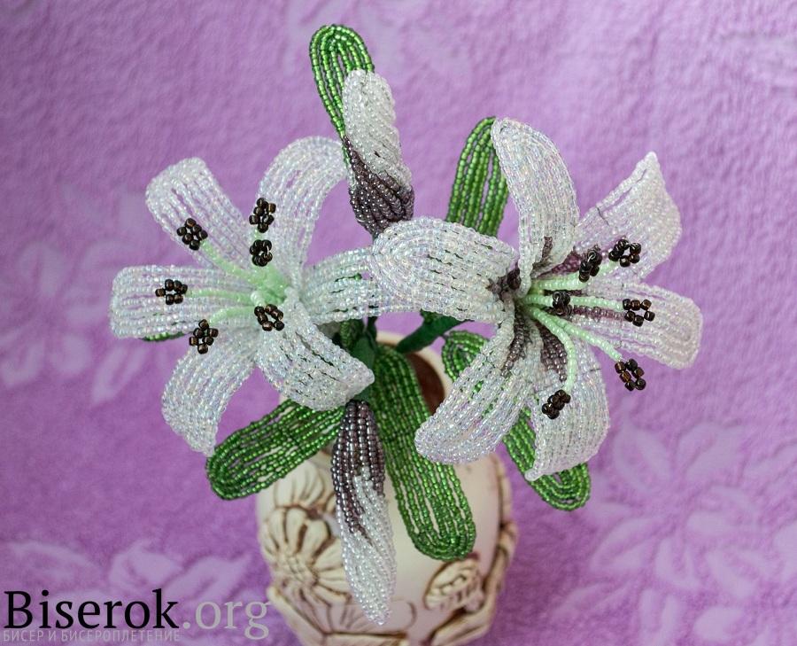 29 окт 2012 Пошаговый мастер-класс плетения лилии из бисера.  Букет белых лилий, сделанный своими руками.