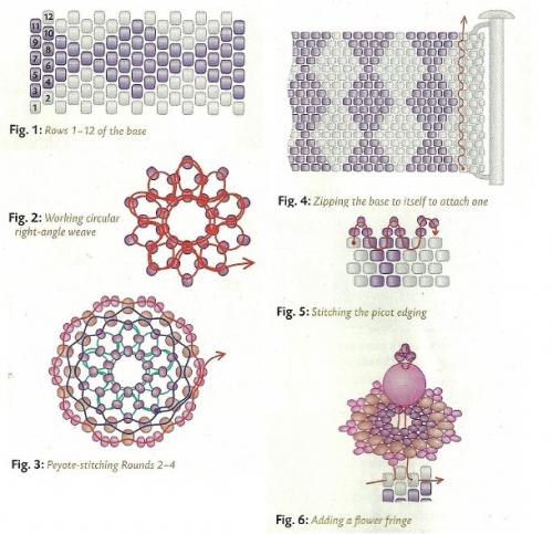 Схема плетения браслета с ромбами