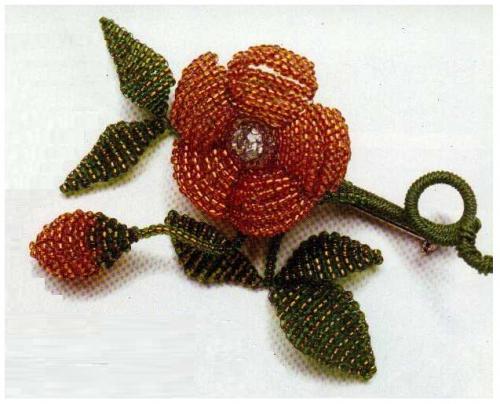 брошь цветок из бисера - Практическая схемотехника.