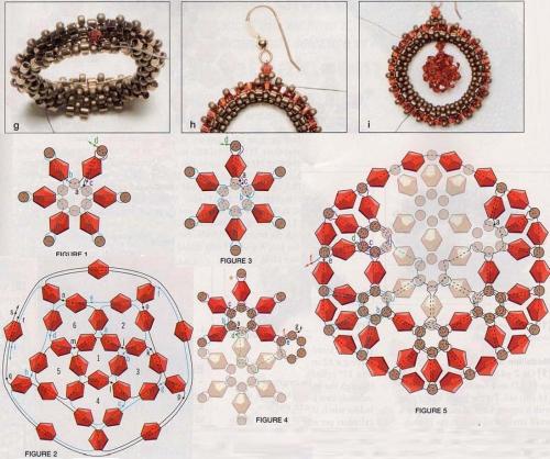 Схема плетения комплекта из бисера