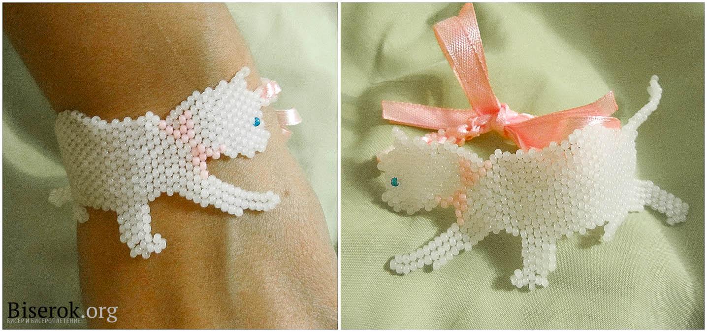 плетение из бисера кошка схемы