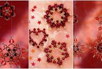 Снежинки из красных бусин