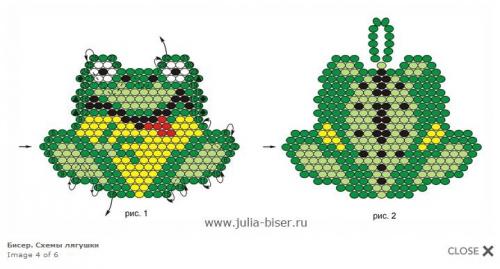 Это довольно простая жаба, плетется кирпичным стежком.  Состоит из двух половинок, которые сшиваются вместе.