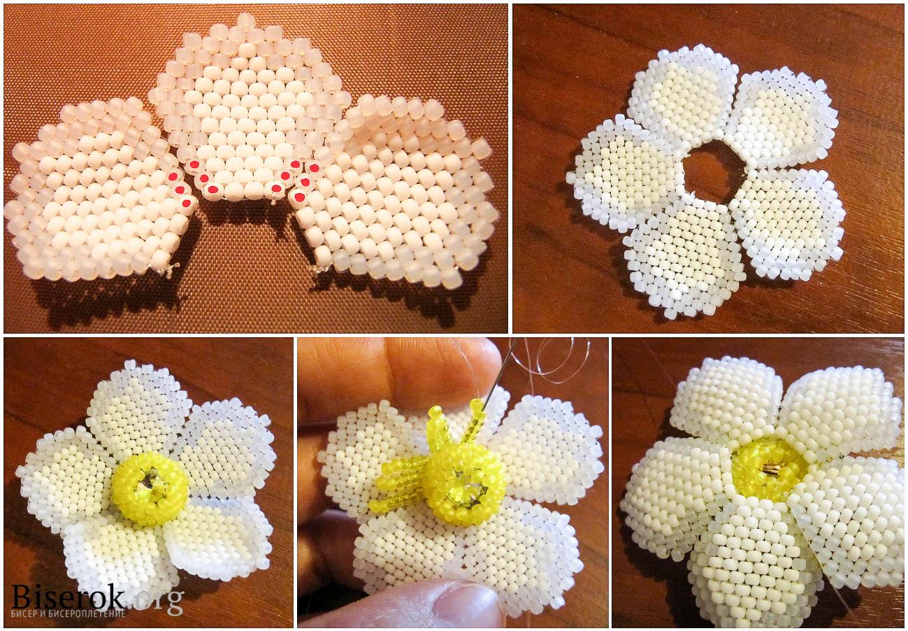 плетение анемона из бисера. изготовление цветка.