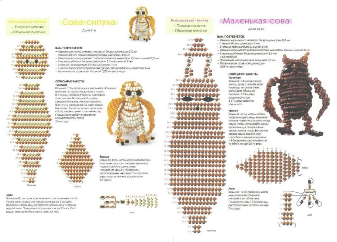 Схема плетения бисер сова