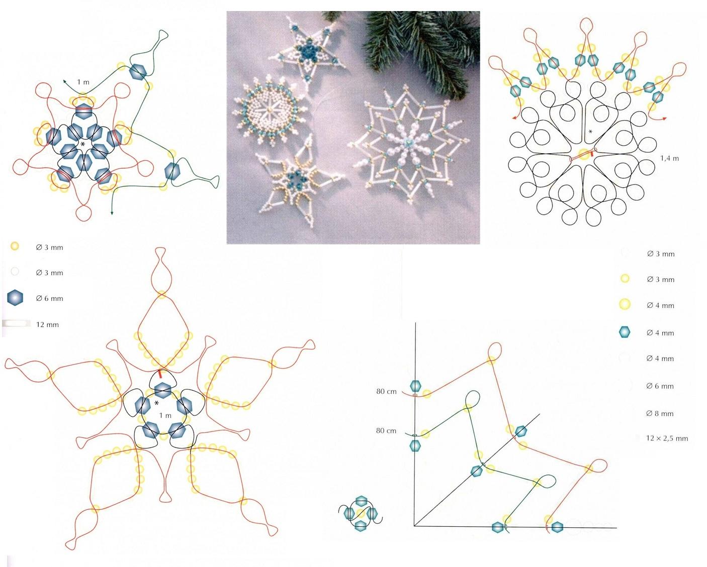 Схема плетения нежных белых снежинок.