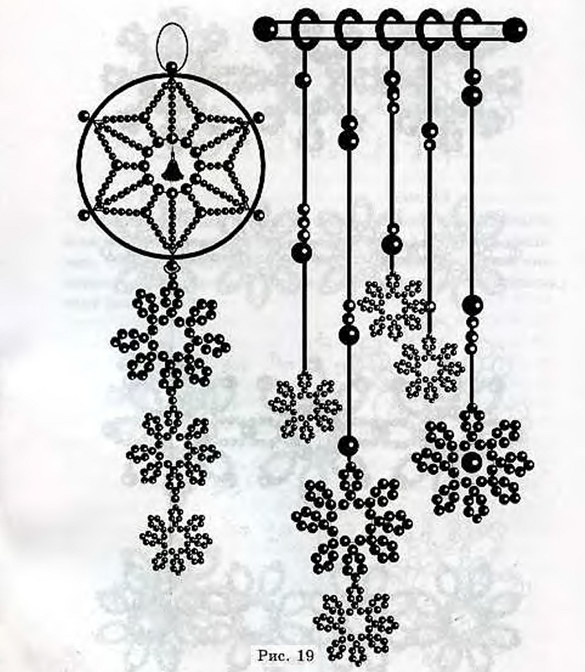 Плетем снежинки из бисера.