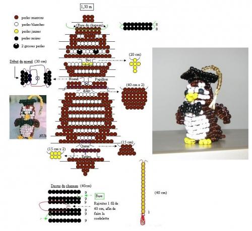Схема совы из бисера