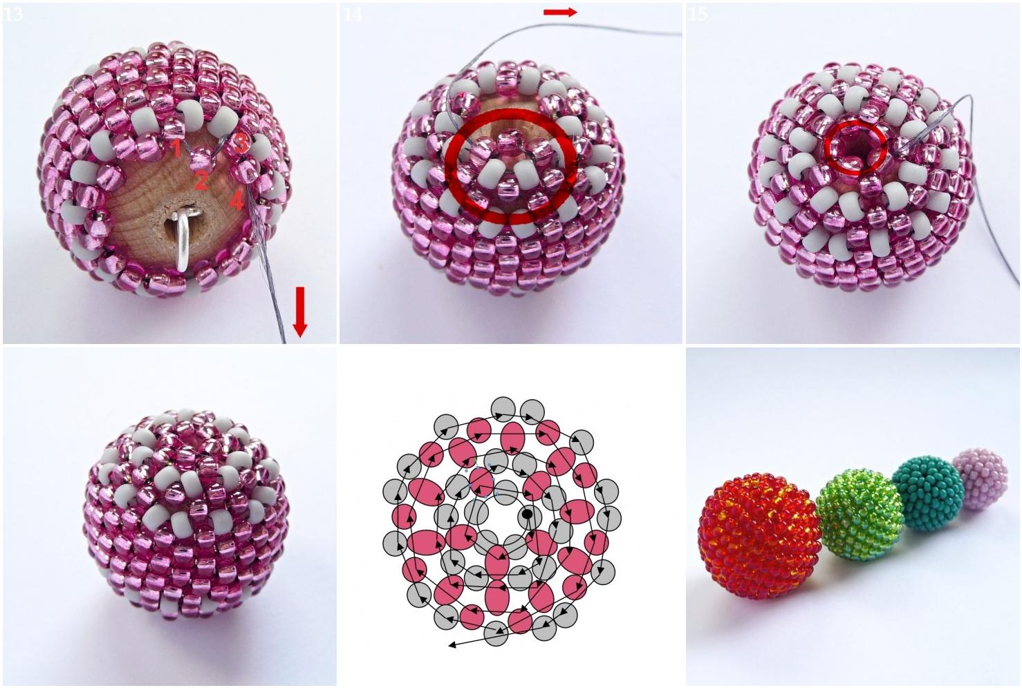 Серьги шарики из бисера мастер класс фото