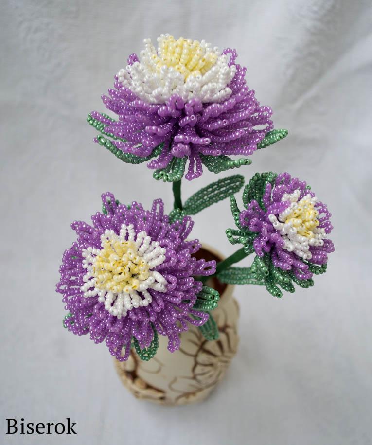 плетения цветка из бисера