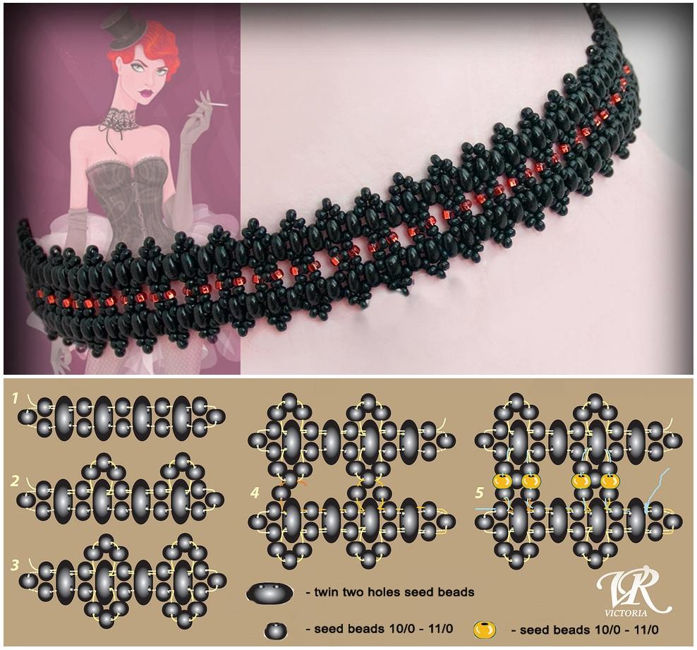 плетение из бисера колье браслеты схемы