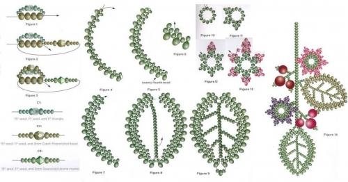 На рис. 1-3 показано плетения американского шнура, чуть ниже указаны схемы набора бисера.  Когда жгут нужной длины...