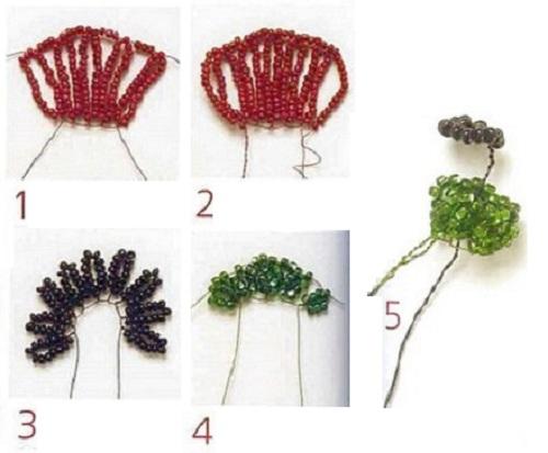 4. Теперь плетем бутон из зеленого бисера.