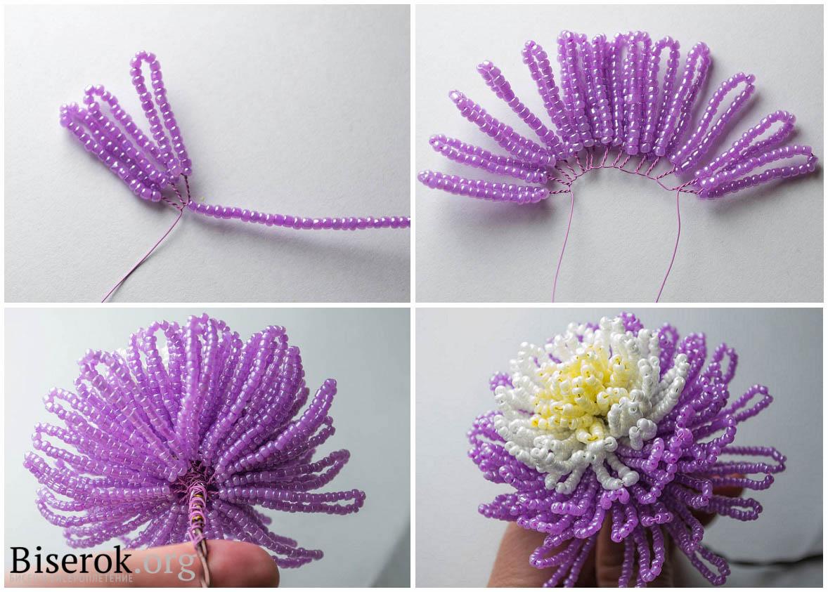 Цветы из бисера хризантема
