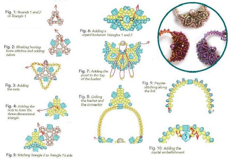 Схема плетения серег из бисера