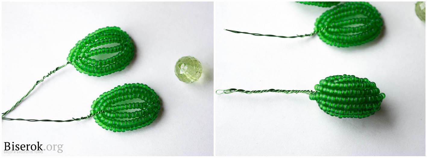 зеленый бутон из бисера