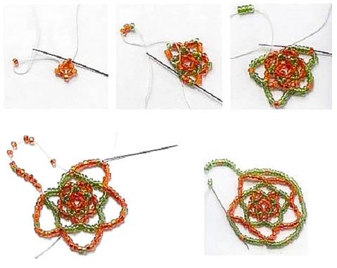 Плетем ажурный круг из бисера.