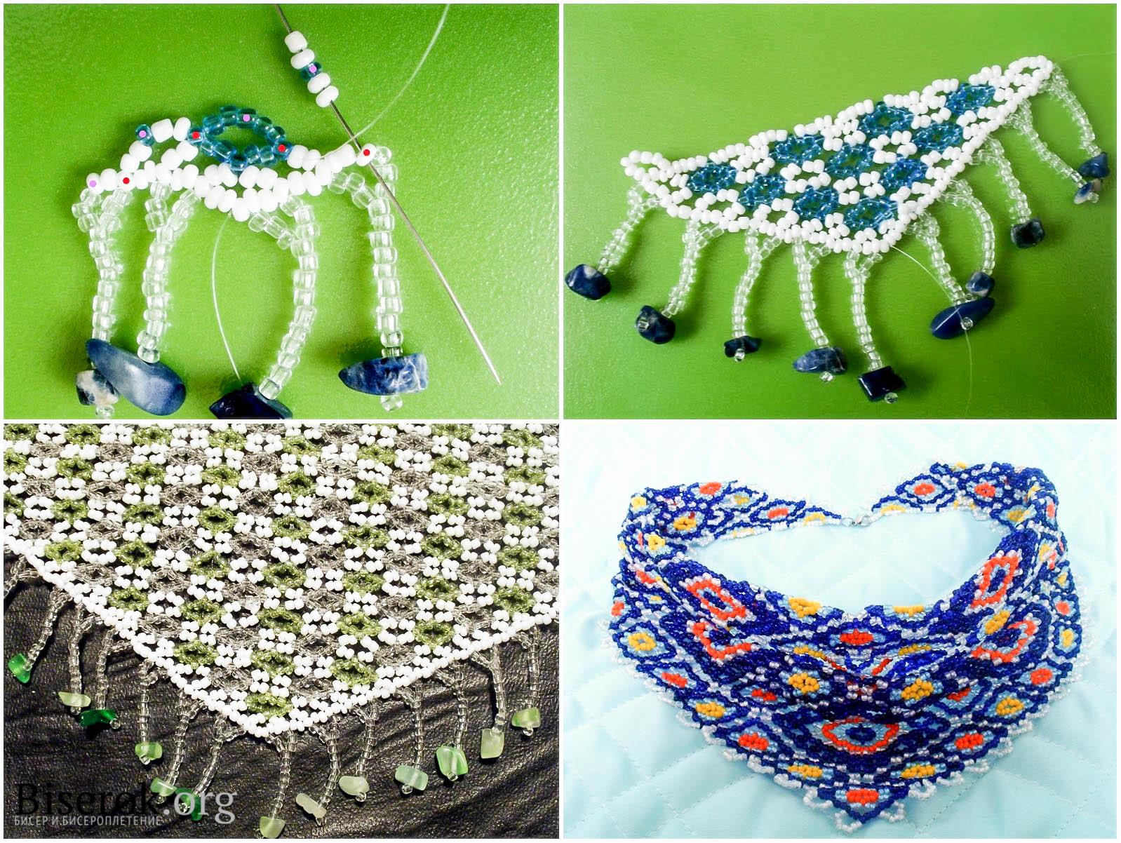 колечки для платка из бисера схема плетения
