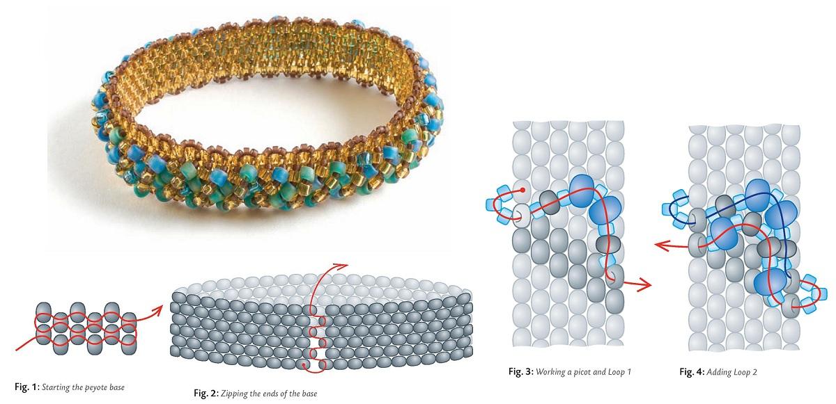 Схемы плетения браслетов из резинок с бусинами