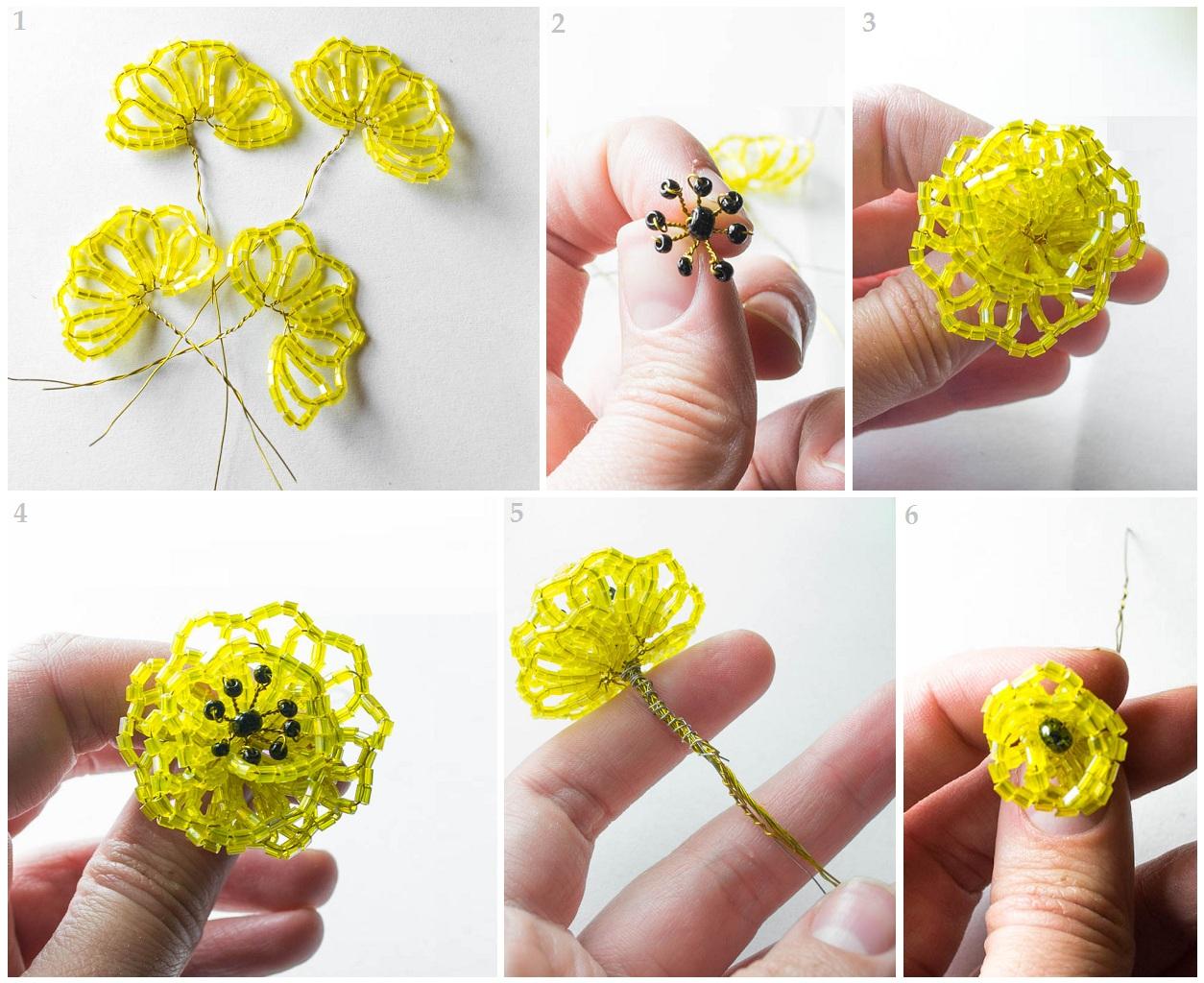 Бисер как сделать цветы