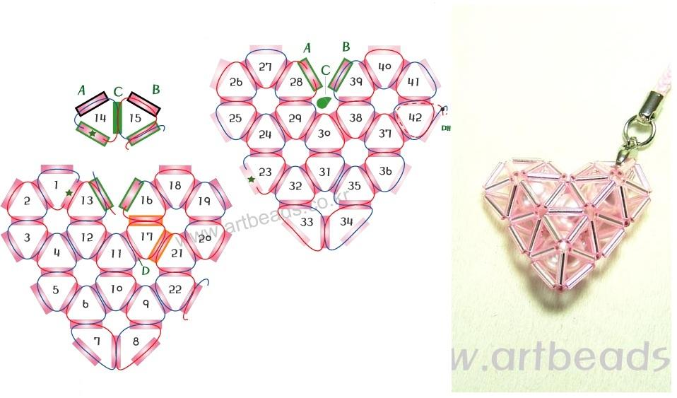 Объемное сердечко из бисера сердечко схема