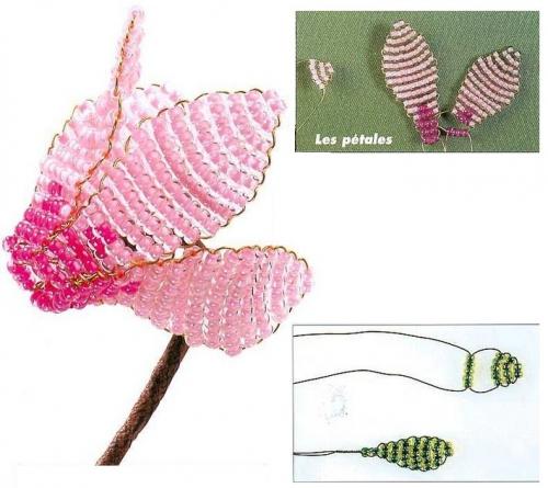плетем цикламен из бисера