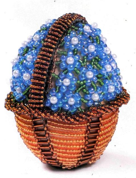 """Торцевые яйца плетут, начиная от пояска, но в нашем нетрадиционном случае начнем снизу.  Яйца  """"Корзина с незабудками """"."""