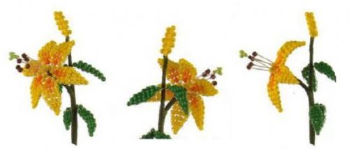 желтая лилия из бисера