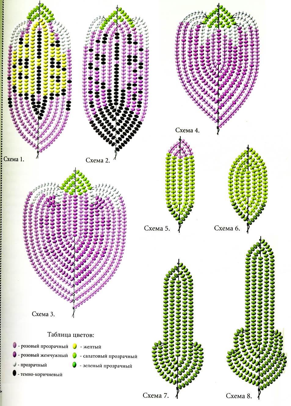 Цветы из бисера картинки со схемами