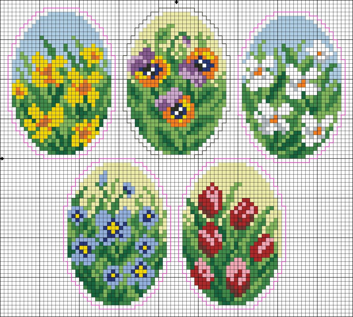 Схемы вышивки пасхального яйца бисером