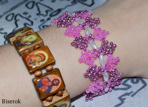 широкий розовый браслет. браслет из розового бисера.