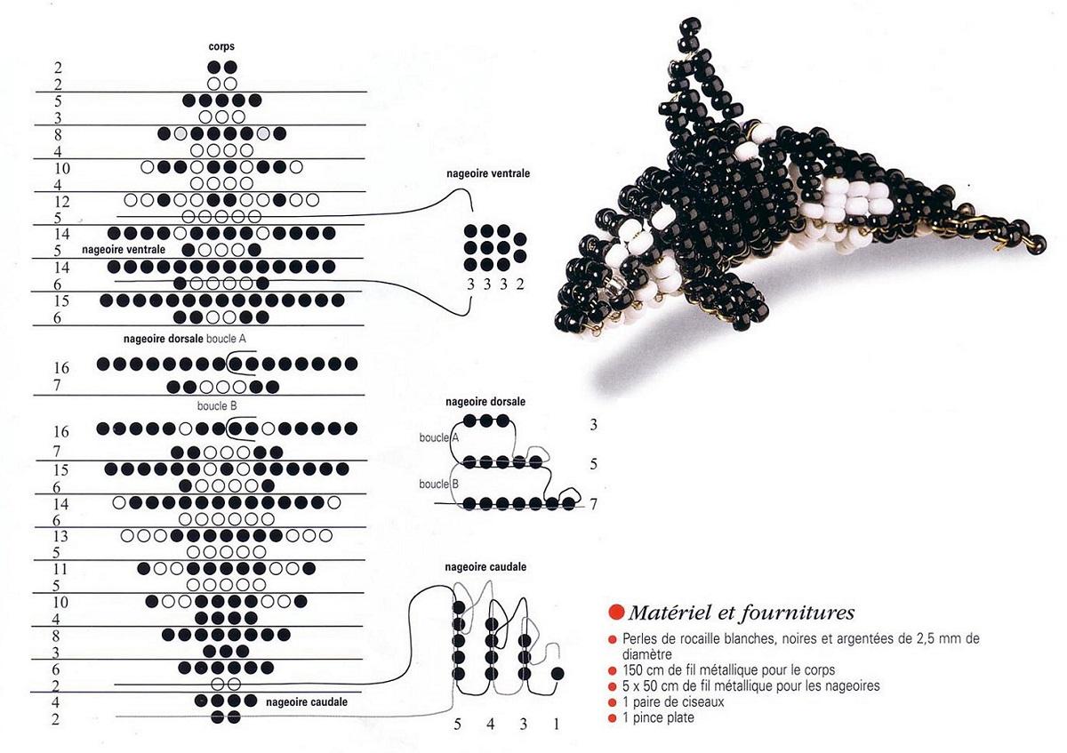 Плетение животных из бисера и лески схемы