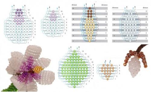схема плетения магнолии