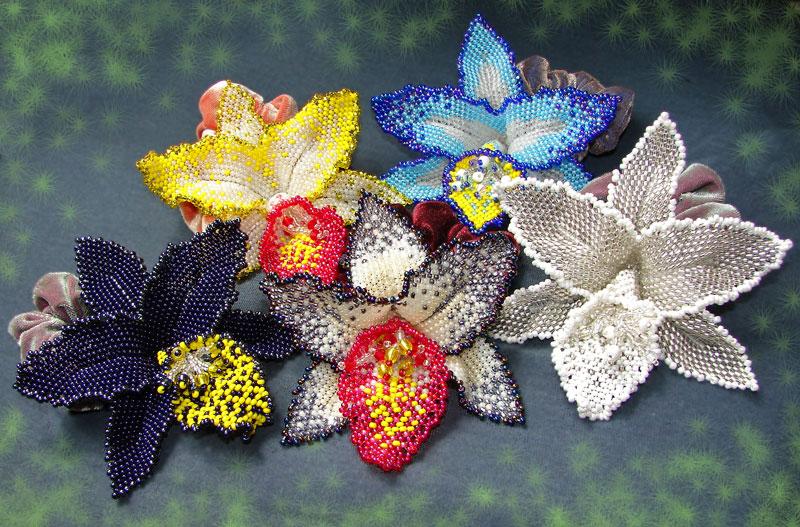 Орхидея из бисера мозаичным плетением мастер класс - Master class.